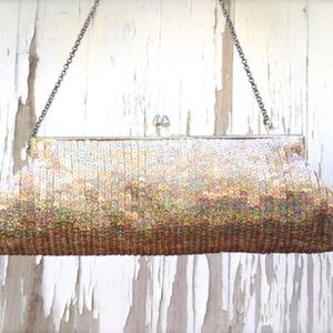 Bebe Gold Sequin Silk Clutch Evening Bag